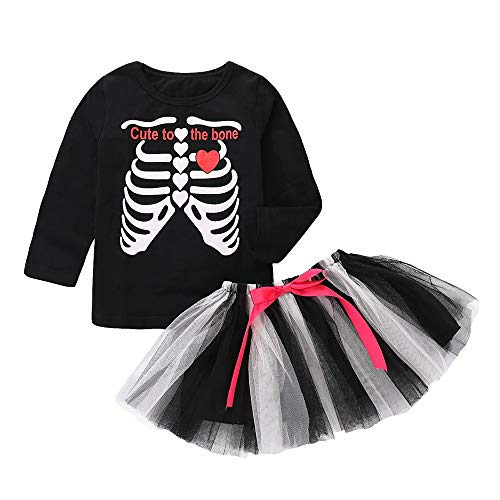 Rock Baby Girl Halloween Appliques Briefdruck Langarmshirts Bogen Rock Set Verkleidung Enfnat Pyjama 1-5 Jahre Style Ceremony von QinMM (Golden Girls Baby Kostüm)