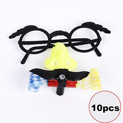(Beito 10PCS Disguise Gläser mit Lustigen Nasen-Schnurrbart-Spielzeug für Kinder Dekor Halloween (Random))