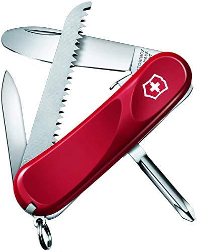 Victorinox Kinder Taschenmesser Junior 09 (8 Funktionen, Runde Feststellklinge, Säge) rot