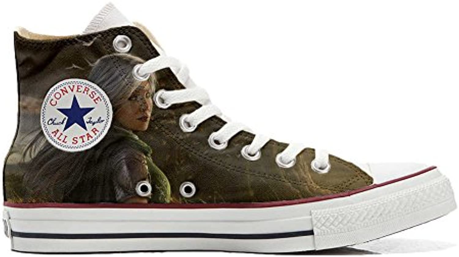 Converse All Star Customized - Zapatos Personalizados (Producto Artesano) Tigre Blanco with Green Eyes -