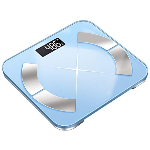 Chengxin Küchenwaagen Intelligente Digitale elektronische Badwaage für das Laden von Batterien, Temperierung GlassBacklit DisplayPräzisionsmessung 330 LBS Küchenwaagen (Color : Blue)