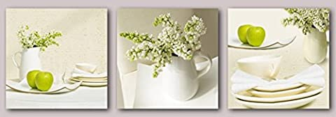 OBELLA New Wall Art Canvas Prints 3 Pieces - Green Apples and Flowers - With Inner Frames, Ready to Hang - Modern Contemporary Posters Oil Paintings Prints and Pictures Photo Image Wall Art Prints on Canvas for Bedroom Living Room Wall Decor Christmas Gifts Decoration (30*30cm x 3p)