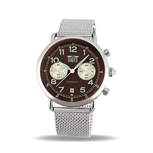 a7efa93067ef Davis Reloj Cronógrafo para Unisex Adultos de Cuarzo con Correa en Acero  Inoxidable 2121MB