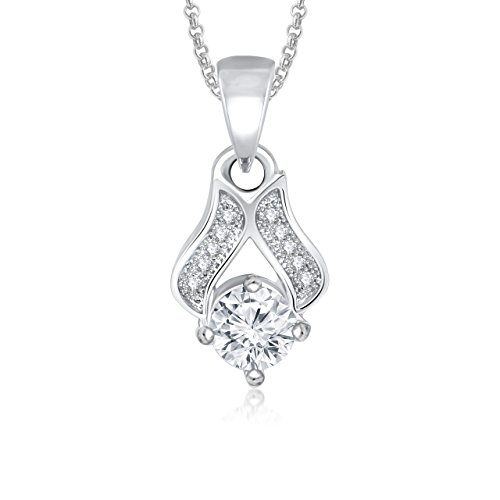 Valentine Gifts MEENAZ VALENTINE SOLITAIRE PENDANT LOCKET SILVER FOR GIRLS, WOMEN WITH CHAIN ...  available at amazon for Rs.190