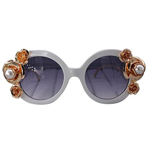 Retro Sonnenbrille Brille, Asnlove Moderne Modische Unisex Spiegel Runde Dekorative Weißer Rahmen Sonnenbrillen, Strand Sonnenbrille, UV-Schutz, Schutzbrille - Farben Pearl und Rose