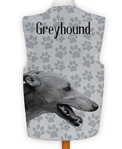 NEUHEIT Weste Kostüm Spass Legere Hirnrissig Hund Anzeigen Greyhound Pfotenabdruck - Mehrfarbig, - Greyhound Kostüm