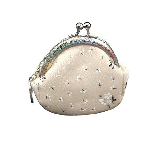 Frauen Mädchen Mode Snacks Geldbörse VENMO Wallet Bag Change Tasche Schlüsselhalter Geldbörse mit Ethno Blumen und Blüten Muster, Vintage Design, Reißverschluss, Portemonnaie Hellblau / Pink / Lila / Beige (Beige) -