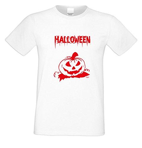 Herren-Halloween-Kostüm-Motiv-T-Shirt auch in Übergrößen 3XL 4XL 5XL Halloween cooles Party Outfit Farbe: weiss Weiß