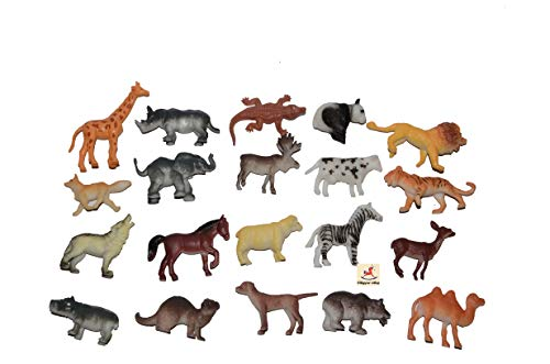 Vibgyor Vibes Vibgyor Zoo Wild Animals Figures Set for Kids - Pack of 20 Animals, Small (Multi Color)