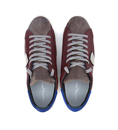 Baskets Philippe Model Classic en peau bordeaux et chamois gris Rouge
