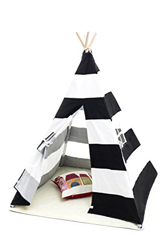 Small-Boy-Stripe-Canvas-Play-Teepee-Tent-for-Kids-100-Cotton-by-Tiny-Land-BlackWhite