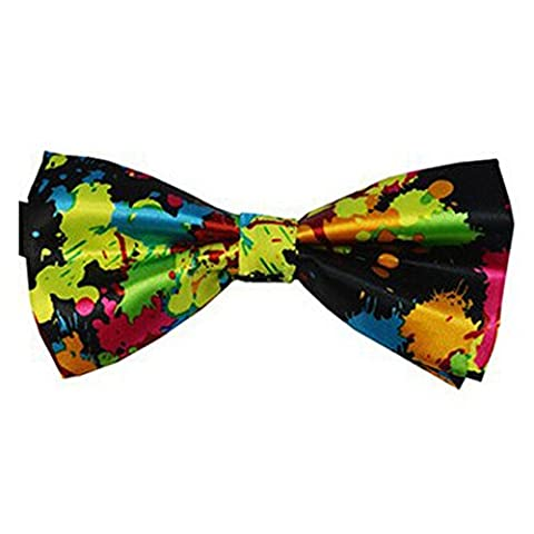 Silk Finish Fashion Bow Tie. Pre-tied Elastic Dicky for Weddings (Multi Coloured)