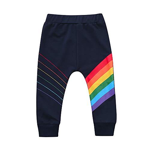 Yanhoo Unisex Kinder Baumwolle Lange Hosen mit Regenbogen für Kleinkind Jungen Mädchen Casual Komfortabel Kleidung 12Monate~4Jahre