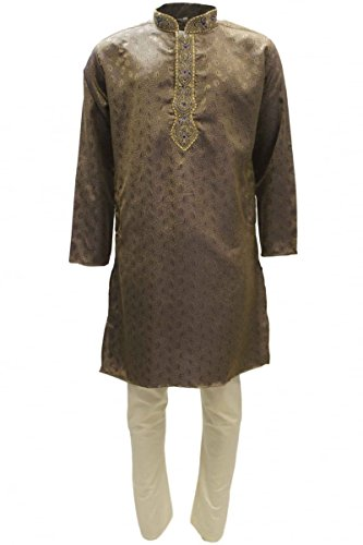 MKP3212 Burlywood e Kurta pigiama avorio Uomo Indian Suit Bollywood Sherwani Burlywood