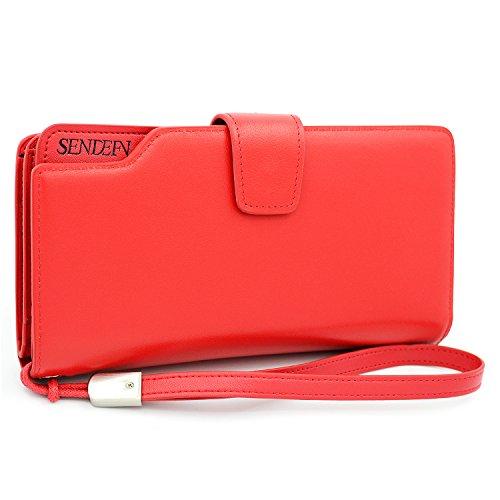 Große Kapazität Tri-fold Dame echtes Leder Geldbörse Portemonnaie Lady Handtasche Brieftasche (Rote) (Tri-fold Leder Handtasche)