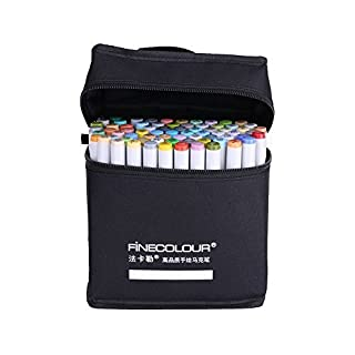 Yosoo 36 Colours Double Ended Finecolour Sketch Marker Pen Baisc Set + Storage Pouch Bag, Artist Necessary Work Supplier Alcohol Markers Lights Art Markers