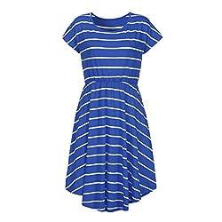 Ladies Tunic Knee Length Dress, Kanpola Women's Summer Casual Short Sleeve Elastic Waist Striped Beach Midi Dress With Pockets by Kanpola
