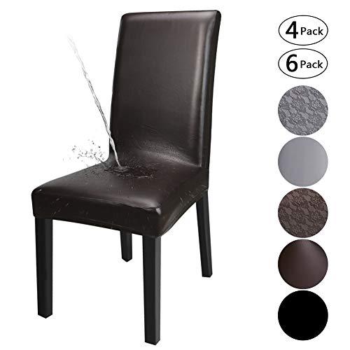 Yisun coperture della sedia da pranzo, copertura di protezione della sedia da pranzo lavabile rimovibile elasticizzata in pelle pu (marrone/solido, 6 pezzi)