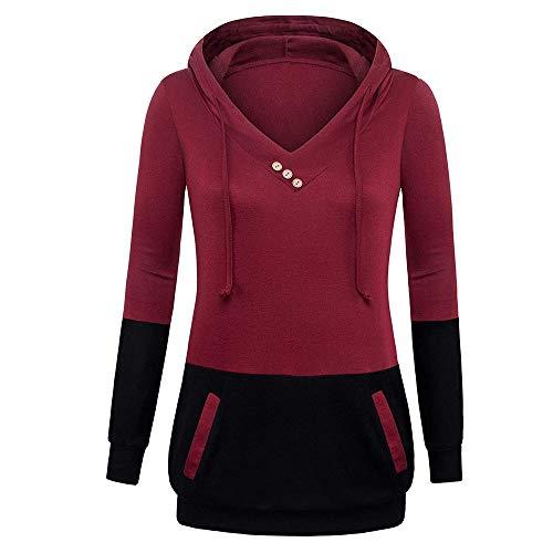 Schwangere Kostüm Für Känguru - Damen Langarm Farbblock Kapuzenpulli MYMYG Känguru-Taschen Pullover Oversize Oberteil Langarm V Neck Bluse Shirts Sweatshirt(rot,EU:40/CN-XL)