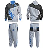 MENS BLUE AND GREY JOGGING TRACKSUIT BOTTOMS SUIT HOODED FLEECE TROUSERS PANTS (Large)
