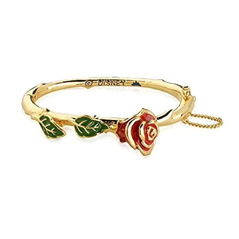 Disney Couture Beauty and the Beast Plaqué or 14 carats Enchanted Rose rouge Bracelet