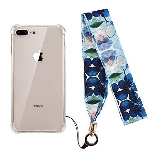 Kerzzzil Schutzhülle für iPhone 8 Plus, iPhone 7 Plus, kristallklar, stoßfest, Anti-Gelb, Kratzfest, inklusive gratis Seidenband für Frauen und Mädchen, kompatibel mit iPhone 8Plus/7Plus, Blaue Blume -