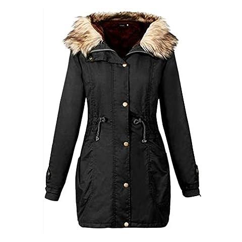 Damen Kleidung BURFLY Frauen Jacke Mit Kapuze Plus Size Slim-Fit Warme Mantel Langer Mantel Winter Jacken (XXL, (Luft Zipper)