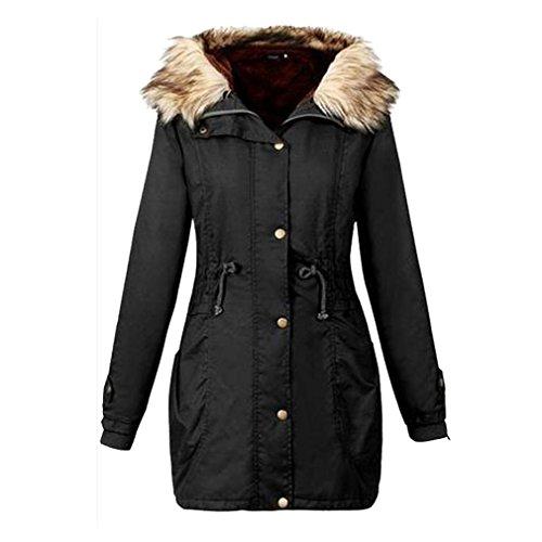 Damen Kleidung BURFLY Frauen Jacke Mit Kapuze Plus Size Slim-Fit Warme Mantel Langer Mantel Winter Jacken (S, Schwarz)