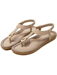 feiXIANG zapatos unisex ahuecan los pares ocasionales sandalias de playa sandalias zapatos de pareja (Rojo, 42)