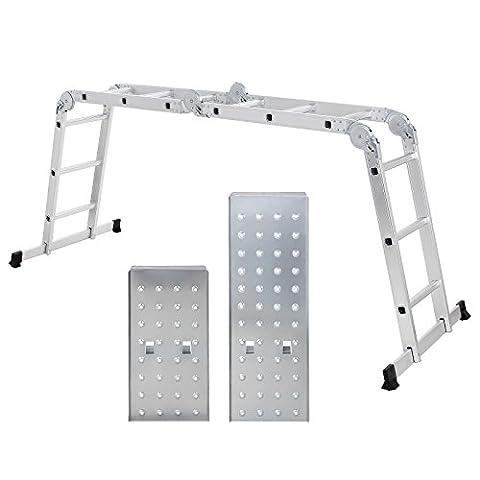 Songmics 3.5 m Echelle Aluminium Pliante Multifonction avec 2 panneaux Résistant à 150 kg Conforme aux normes EN131 et testé par TÜV Rheinland GS GLT36M