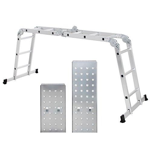 Songmics 3.5 m Alu Leiter Mehrzweckleiter bis 150 kg 12 Stufen mit 2 Gerüstplatten entspricht EN 131 TÜV Rheinland GS geprüft GLT36M (12 Stufen)