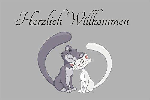 Creativ Deluxe herzlich willkommen Katzenmotiv - Fussmatte Bedruckt Türmatte Innenmatte Schmutzmatte lustige Motivfussmatte