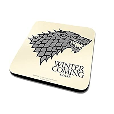 Game Of Thrones House Stark Logo Official New White Coaster (10cm x 10cm)