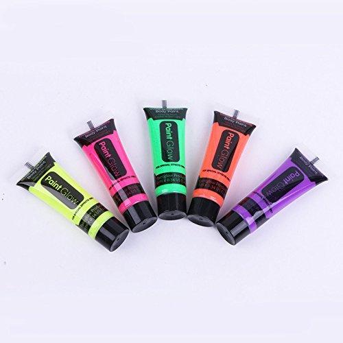Fantasy-körper-Öl (10ml Pigment Gesichtscreme Echthaar Body Painting Luminous Fluoreszierende UV-Salbe-Set von 5Tubes)