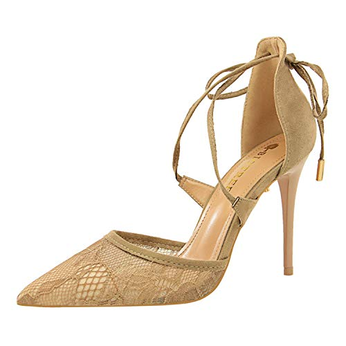 Size34-40 Woman Sexy Lace and Mesh Sandals Women Lace-up Thin Heels Shoes Female Cross-Tied Shoes Woman 10CM High Heels Shoes Khaki 40