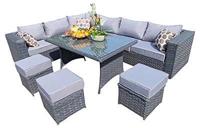 Yakoe 9 Seater Papaver Range Rattan Garden Furniture Corner Sofa and Dining Set