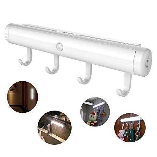 BGG Vanity Mirror Leuchten PIR Motion Sensor Batterie Power/Aufladen LED-Wandlampe Korridor Nacht-Sicherheitslicht Mit Abnehmbaren Hooks Garderob-Lampe,Warmlight,Batterystyle Pir-kit