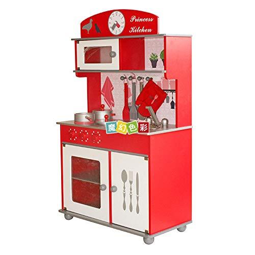 RenshenX Esquina Gourmet de Juguete,Juguete de Madera con simulación de Cocina, Juguete para cocinar de Aves para niños, 62 * 31 * 100 cm, Rojo @ Rojo,Ollas y sartenes para Nevera y microondas