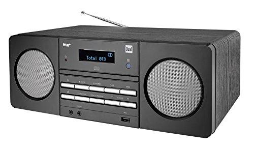 Stereoanlage • DAB+ • UKW • Sendersuchlauffunktion • AUX-IN • USB-Anschluss • CD-Abspieler • MP3 • Senderspeicher • Fernbedienung • Kopfhöreranschluss • Schwarz • Dual DAB 410