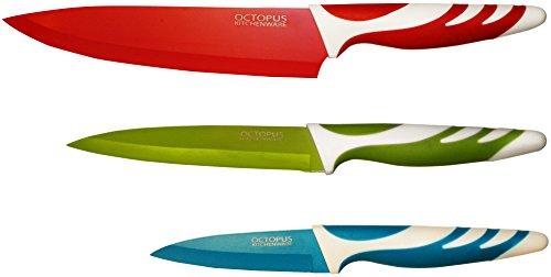 Küchenmesser Set – Qualitäts-Messerset mit Anti-Haft-Beschichtung - Hygienisch, leicht zu säubern, extra scharf, rutschfeste Griffe - Kochmesser, Allzweckmesser-Fleischmesser, Schälmesser-Gemüsemesser
