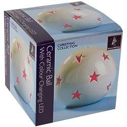 Snow White Star-Palla di Natale in ceramica, con luci che cambiano colore