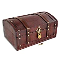 Brynnberg wooden pirate treasure chest Flanders 30x20x15cm decorative storage box - Vintage decoration handmade - with padlock lockable with key