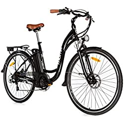 "Moma Bikes Bicicleta Electrica, Urbana EBIKE-28 "", Alu. SHIMANO 7V & Doble Freno Disco Bat. Ion Litio 36V 16Ah"