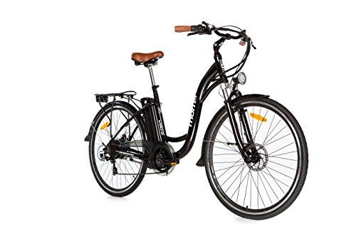 Moma Bikes Vélo Electrique VAE De ville, E-28', Aluminium, SHIMANO 7V, Freins a Disque Bat. Ion Lithium 36V 16Ah