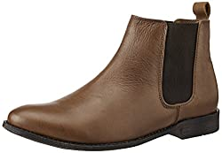 Egoss Mens Tan Leather Boots - 9 UK (P-53)