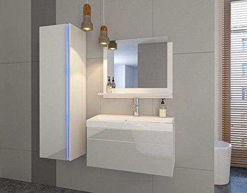 Home Direct Jenny 2 Badezimmer Möbel Badmöbel Komplett (Weiß MAT Base/Weiß HG Front, LED weiß) - Waschtisch Waschbecken Base