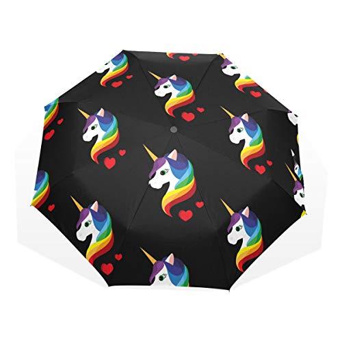 EZIOLY Paraguas de Viaje de Unicornio arcoíris Ligero Anti UV Paraguas de Lluvia para Hombres, Mujeres y niños, Resistente al Viento Plegable Compacto Paraguas