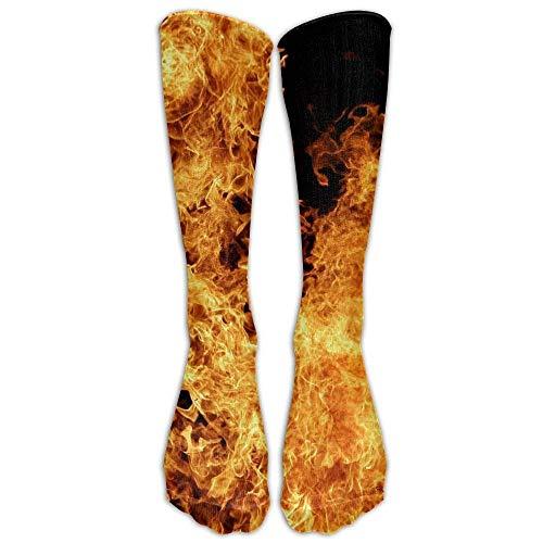 s Novelty Flame Fire Long Sock Athletic Calf High Crew Soccer Socks Sports ()