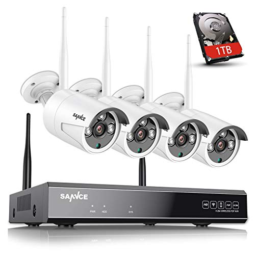 SANNCE Kit de Videovigilancia Inalámbrica 1080P NVR WiFi y 4 Cámaras de Seguridad (Onvif H.264 CCTV 8CH NVR y 4 cámaras 1.3MP)-1TB Disco Duro de vigilancia