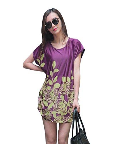SaiDeng Femme Oversize Imprimé Floral Manche Courte Robe En Vrac Chemisier Image 1